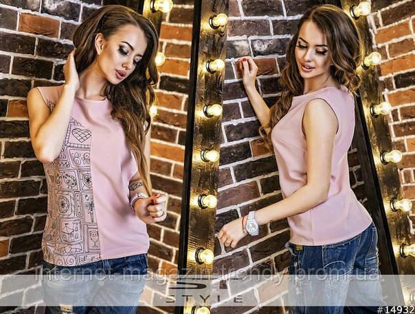 Блузка без рукавов в четырех расцветках 1013