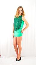 Яркое коктейльное вечернее платье-мини с пайетками и открытой спинкой зеленое, фото 2