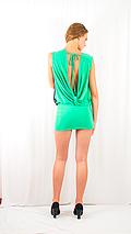 Яркое коктейльное вечернее платье-мини с пайетками и открытой спинкой зеленое, фото 3