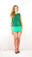 Яркое коктейльное вечернее платье-мини с пайетками и открытой спинкой зеленое