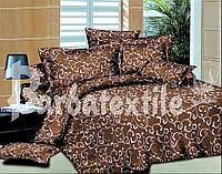 Хлопковое постельное белье двуспальное с вензелями коричневое