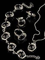 Украшения с агатом. Набор-комплект бижутерии агат черный, состав: браслет, кольцо, подвеска, серьги Код: 012876 кольцо 15-20 регулируемое