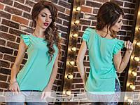 Блуза  шифоновая со складками на рукавах 4024, фото 1