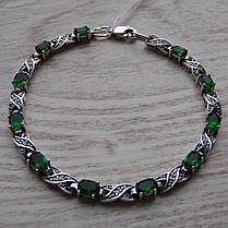 Серебряный женский браслет с зелеными фианитами, 180мм, фото 2