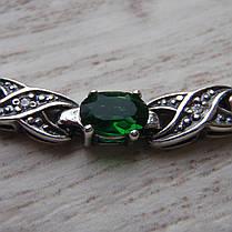 Серебряный женский браслет с зелеными фианитами, 180мм, фото 3