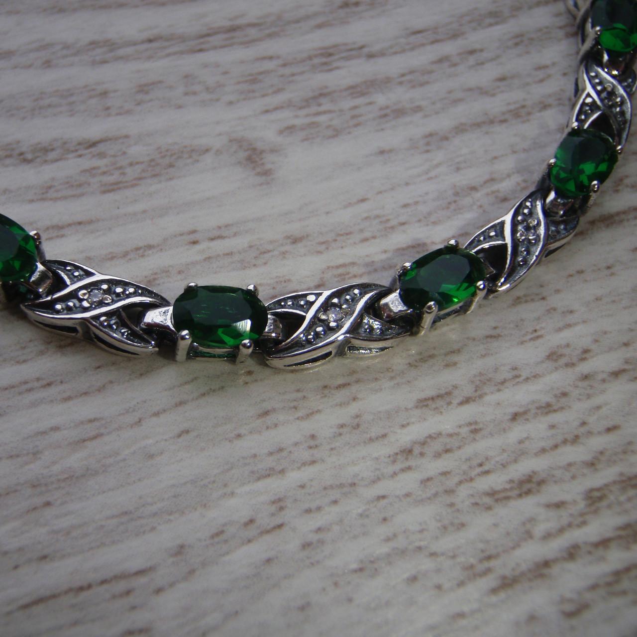 Серебряный женский браслет с зелеными фианитами, 180мм