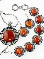Подвеска, браслет и серьги из сердолика круглая форма, восточный стиль, Код: 024012
