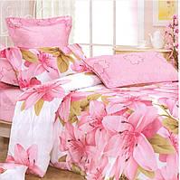 Розовое постельное белье евро размера из бязи