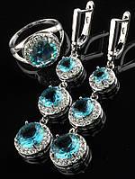 Комплект длинные серьги  47х15 мм и кольцо голубой Фианит покрытие родий Код: 024789 18 размер кольца