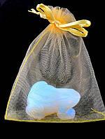 027982 Мешочек из органзы 12х9 см (маленький) подарочный новогодний, Желтый, Полупрозрачный, Без рисунка