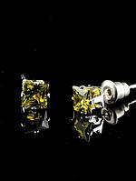 5х5 мм Серьги-гвоздики (Пуссеты) оттенок: Желтый, покрытие: родий, вставка: Квадрат, Фианит, кристаллы, украшение № 028284