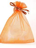 027976 Мешочек из органзы 12х9 см (маленький) подарочный новогодний, Коричневый, Полупрозрачный, Без рисунка
