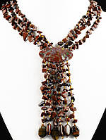 Бусы из обсидиана с кисточкой черно-коричневый 62 см, код украшения: 020919 с кисточкой