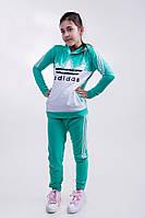 """Подростковый спортивный костюм """"Adidas"""", турецкая двух нить, принт-шелкография, парень+девушка.  Арт-5480/44"""