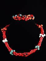 Бусы+Браслет коралл природный, преимущественный оттенок красный, 50 см Код: 019580
