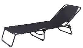 Шезлонг лежак садовый черный 58х190см сталь