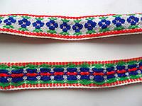 Тесьма декоративная с тканым орнаментом. 21 мм