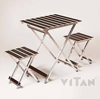 Комплект мебели садовой (стол + 2 стула (туристический) «ALUWOOD малый»