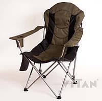 Кресло удобное тканевое раскладное зелено черное садовое