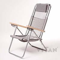 Кресло-шезлонг с деревяными ручками «Ясень» с откидывающие спинкой серое