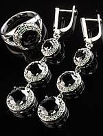Комплект черный фианит, серьги длинные 47х15 мм, родированы, Код: 024832 18 размер кольца