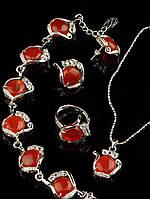 Украшения из сердолика. Бусы, кольцо, браслет, подвеска, звено 20х18мм, 46 см Код: 012895 кольцо 15-20 рег
