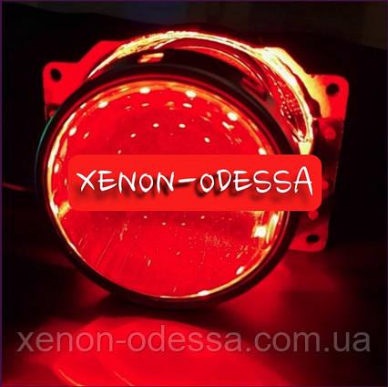 КРАСНЫЕ Дьявольские Глазки 360 для подсветки любых линз / 360 Devil Eyes Rings for Projector Lens (RED), фото 2