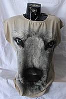 Футболка женская Волк,Турция, 001 / купить женскую футболку дешево оптом со склада 7 км