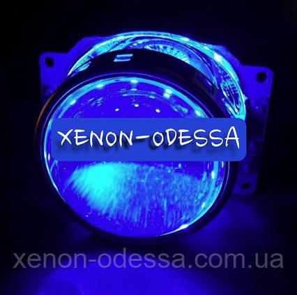 СИНИЕ Дьявольские Глаза 360 для подсветки любых линз / 360 Devil Eyes Rings for Projector Lens (BLUE), фото 2