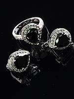 Миниатюрный набор бижутерии с черными фианитами капля покрытие родий Код: 024834 19 размер кольца