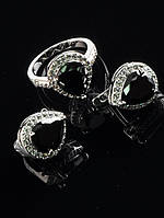 Миниатюрный комплект ювелирной бижутерии фианит черный, серьги 15х13 мм, родий, Код: 024834 18 р