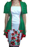 Атласное вышитое платье со свиткой