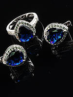 Украшения с фианитами. Комплект Фианит синий, форма капля, кольцо и серьги покрытие родий Код: 024841 19 размер кольца