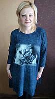 Модное платье-туника женское  джинс (50-54), доставка по Украине