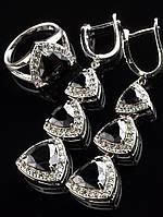 Комплект Фианит черный, серьги длинные 53х15 мм и кольцо, форма триллион, родий,  024793 19