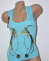 Майка женская с рисунком голубая