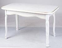 Стол Гаити белый с золотой патиной 1200(+400)х700