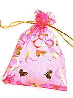027957 Мешочек из органзы 12х9 см (маленький) подарочный новогодний, Розовый, Полупрозрачный, Есть рисунок