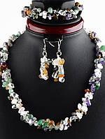 Комплект: бусы, браслет, серьги из самоцветов 50 см Код: 024343