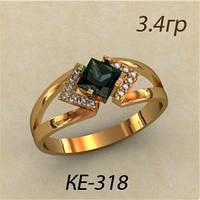 Элегантное женское золотое кольцо 585 пробы с зеленым камнем