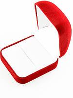 Коробочка для колец, обручальных, помолвочных, одного, двух колец 55х55х40мм красный замш