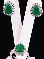 Серьги и кольцо капля Фианит зеленый матовый, инкрустация белыми, покрытие родий Код: 024807 18 р