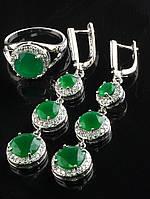 Комплект Фианит зеленый матовый, круглая форма, серьги длинные, покрытие родий Код: 024788 18 р