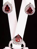 Комплект серьги и кольцо капля красный фианит покрытие родий Код: 024808 19 размер кольца
