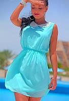 Шифоновое платье с воротником из жемчуга
