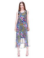 Платье-сарафан в полоску с цветочным принтом