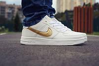 Мужские кроссовки Nike Air force Gold white+ коробка Nike