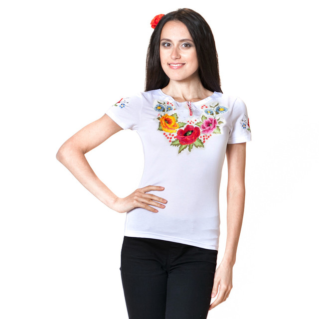 """украинская вышитая футболка с вышитым рукавом """"Калинове диво"""""""