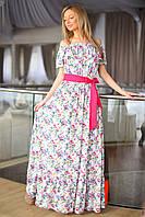 Платье в пол розовый пояс 20/8010