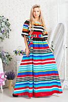 Платье в пол Фонарик полоска 20/6056